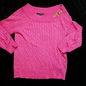 Ralph Lauren pink wide crew neck sweater size larg